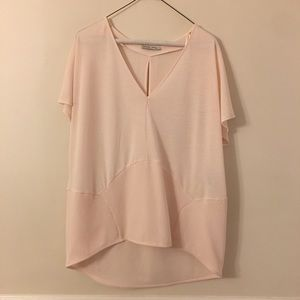 Zara   NWOT Light Pink Split Back Top Size L